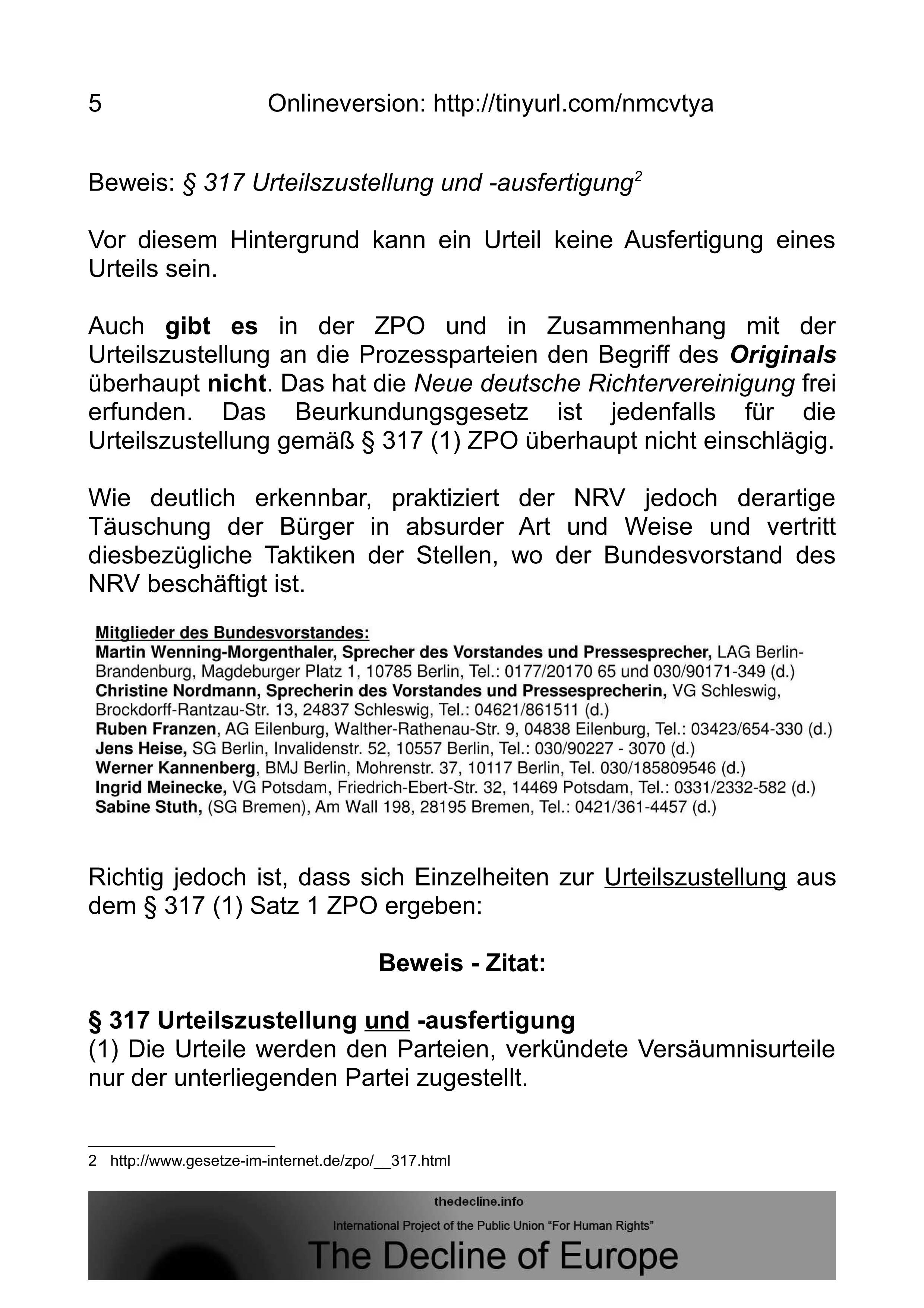 Neue Richtervereinigung – NRV e.V. konkludent für ...