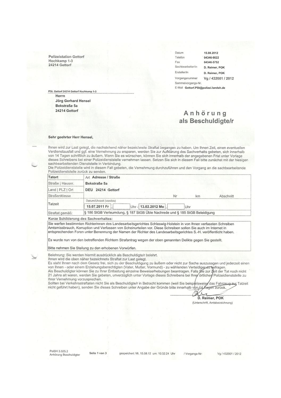 Strafanzeige LAG SH - Anhörungsformular